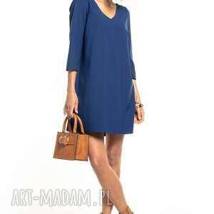 sukienki elegancka sukienka z kontrafałdą na plecach i dekoltem v, t322