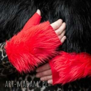 ręcznie wykonane rękawiczki rekawiczki bezpalcowe z futerkiem czerwone
