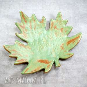 ręcznie wykonane ceramika patera liść klonu