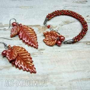 Jesienne liście - komplet biżuterii, bizuteria-liście, biżuteria-na-jesień
