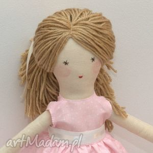 lisa w różowej sukni, lalka, szmaciana, prezent, dla-dziecka, szyte, włosy