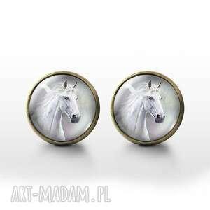 biały koń - antique bronze kolczyki wkrętki, kolczyki, koń, retro