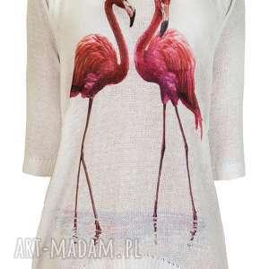 swetry letni sweterek s/m,l/xl, flamingi, bluzka, drukowana, nadruk, wyjątkowy