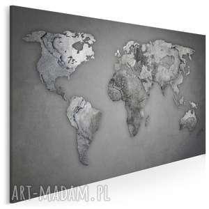 obraz na płótnie - mapa świata beton kamień 120x80 cm 74101, mapa, świat