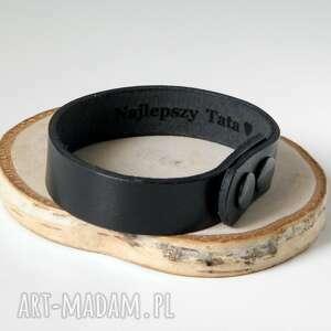 męska skórzana bransoleta 1,5 cm - czarna bransoletka najlepszy tata