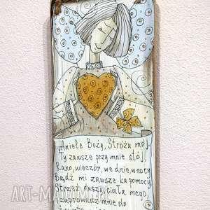 deseczka z sentencją nr 13, anioł, aniołek, stróż, sentencja, deseczka