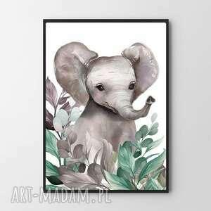 plakat obraz słonik w listkach 80x120 cm - dziecko pokoik, mieszkanie