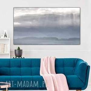 obraz grafika na płótnie, 120 x 70, pejzaż, elegancki minimalizm, niebieski