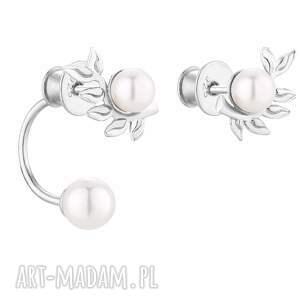 srebrne asymetryczne kolczyki gałązki z perłami swarovski®