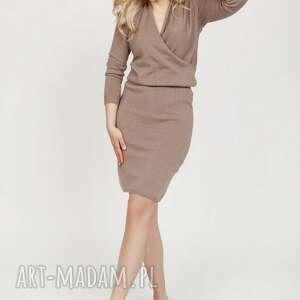 Dzianinowa sukienka - suk009 mocca mkm swetry sukienka