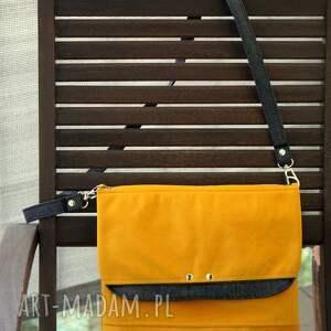handmade mini słoneczna welurowa torebka