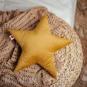 poduszka gwiazdka - musztardowa, pokoj dziecka, na prezent, gwiazdka