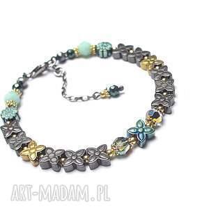 Mint/ flower/ - bransoletka, srebro, pozłacane, oksydowane, hematyty, swarovski