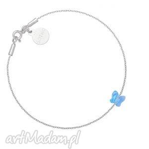 sotho srebrna bransoletka zdobiona niebieskim motylkiem - swarovski, delikatna