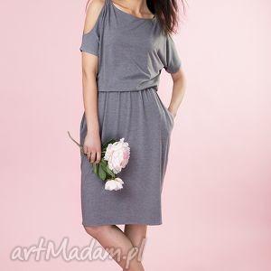 Sukienka z odkrytymi ramionami Provance, sukienka, midi, dzianina, kieszenie