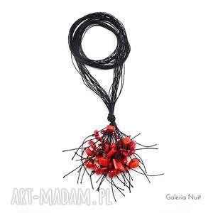 czerwone i czarne - długi naszyjnik - koral, długi, lekki, naturalny, boho