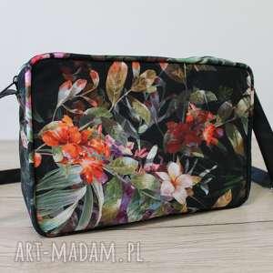 mini single bag - tropikalne kwiaty i liście, elegancka, nowoczesna, pakowna