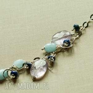 Naszyjnik z ametrynu i akwamarynu, tilia, pastelowy, subtelny, delikatny, kobiecy