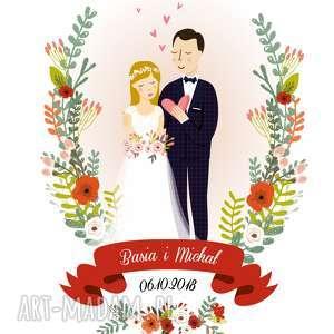 ślub zamówienie specjalne ilustracja pary młodej, ilustracja, portret, para