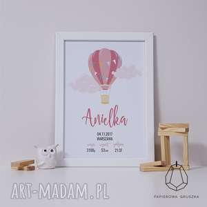 metryczka różowy balonik - metryczka, plakat, obrazek, prezent, urodziny, chrzest