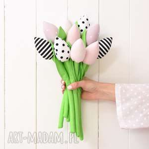tulipany, kwiaty, kwiatki, tulipan, bukiet, bawełniane dekoracje