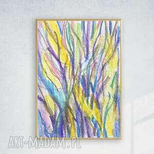 drzewa rysunek oprawiony, nowoczesny w ramce, kolorowy szkic z drzewami, do pokoju
