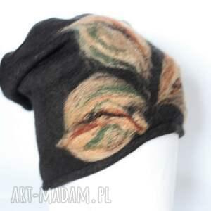czapka handmade na podszewce - czapka, etno, wełna, kwiaty, boho, prezent