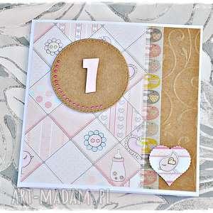 Kartka na pierwsze urodzinki dla dziewczynki scrapbooking kartki