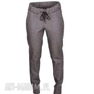 szare bawełniane jeansy z wiązaniem, bawełna, naturalne, jeansy, szare, proste