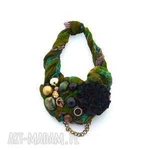 naszyjniki leśne runo naszyjnik handmade, naszyjnik, zielony, czarny, kolorowy