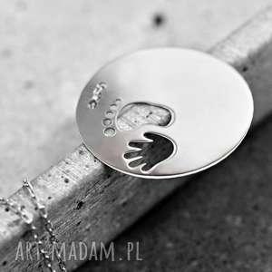 925 srebrny łańcuszek -odcisk stopy i rączki- - stopa, ręka, prezent