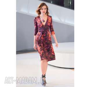 pani jesień - kopertowa sukienka, kopertowa, wielobarwna