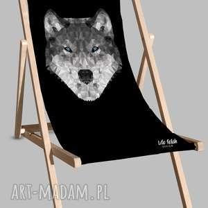 Leżak czarny z wilkiem dom life fetish design leżak, wilk