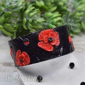 oryginalna bransoleta czerwone maki, duże bransoletka, czarno czerwona biżuteria