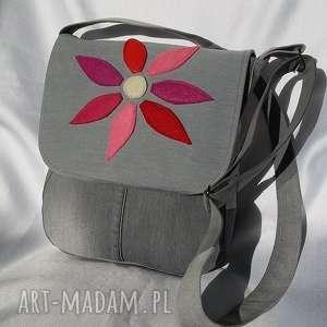 Torebka z jeansu kwiatem - listonoszka gabiell torba, torebka