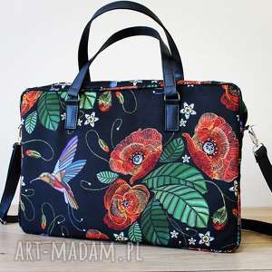 torba na laptop - maki i kolorowe kolibry, elegancka, nowoczesna