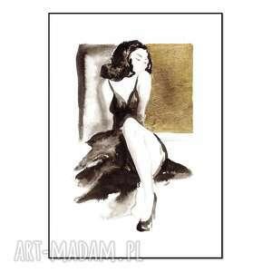 ajan art cykl kobieta w oknie - okno ii, ręcznie malowane, grafika, złocenia