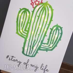 Prezent ŚWIECĄCY OBRAZ LED kaktus cytat motto skandynawski prezent dla niej dekoracja