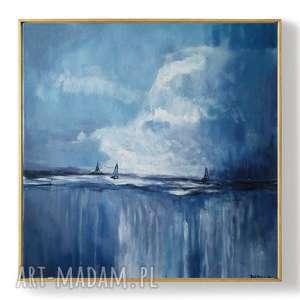 morze-obraz akrylowy formatu 40/40 cm, morze, obraz, kwadrat, łodzie, akryl