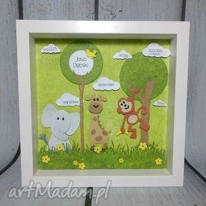 metryczka safari, metryczka, słonik, żyrafa, małpka, prezent, safari dla dziecka