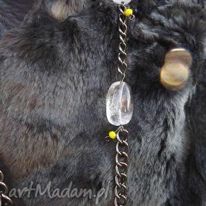 naszyjnik łańcuszkowy z kryształem górskim, naszyjnik, kryształ, górski, oksydowany