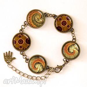 ośmiornica - bransoletka - szkło, steampunk, kaboszon, spirala