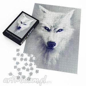 ręcznie wykonane puzzle - biały wilk 60x42 cm 600 elementów