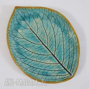 dekoracyjny talerzyk liść, artystyczny talerzyk, turkusowe dodatki, organiczny