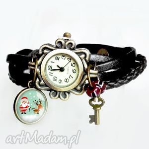 zegarek damski na rękę świąteczny prezent mikołaj i renifer, zegarki