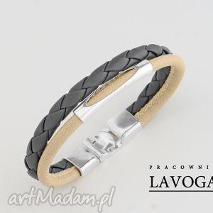 bransoletka w kremie i szarości - biżuteria, rzemień metal