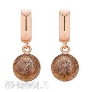 ręcznie wykonane kolczyki kolczyki z brązową żywicą z różowego złota