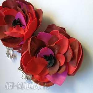 Klipsy lekkie boho kwiaty orient ruda klara kwiaty, roze