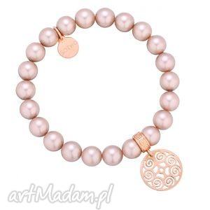 pudrowa bransoletka perły swarovski® crystal z rozetką - beżowa