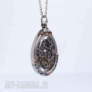 lawenda - naszyjnik, łezka, kolor, medalion, lawenda, kwiaty suszone